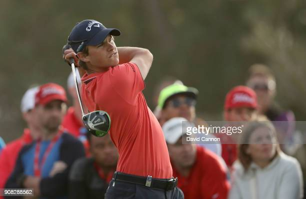 Thomas Detry of Belgium plays his tee shot on the 18th hole during the final round of the Abu Dhabi HSBC Golf Championship at Abu Dhabi Golf Club on...