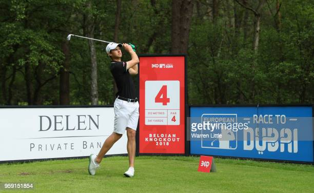 Thomas Detry of Belgium plays in the pro am ahead of the Belgian Knockout at the Rinkven International GC on May 16 2018 in Antwerpen Belgium