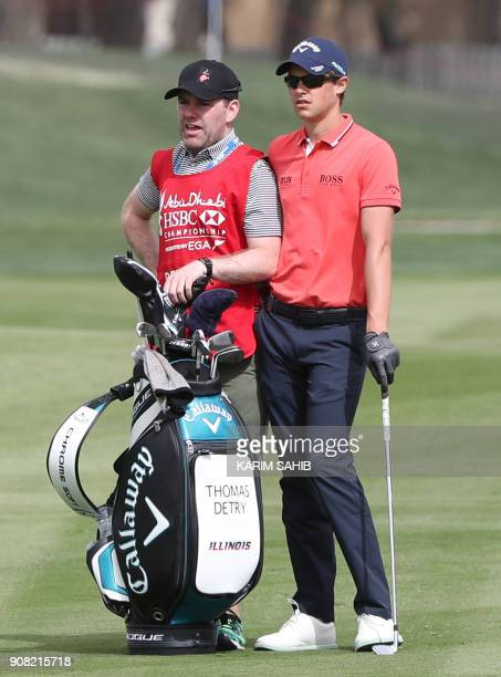 Thomas Detry of Belgium prepares to play a shot during the final round of the Abu Dhabi Golf Championship at Abu Dhabi Golf Club on January 21 2018 /...