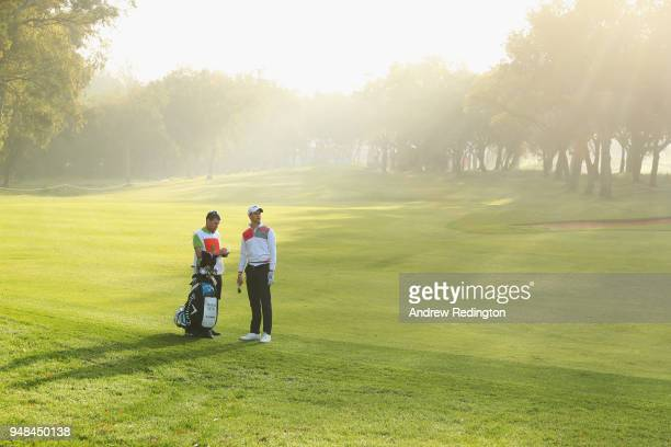 Thomas Detry of Belgium prepares to take a shot on the 1st hole during Day One of the Trophee Hassan II at Royal Golf Dar Es Salam on April 19 2018...