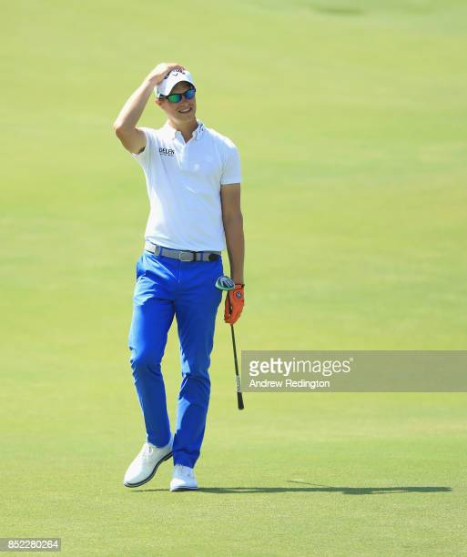 Thomas Detry of Belgium reacts after his second shot on the fifth hole during the third roiund of the 2017 Portugal Masters at Dom Pedro Victoria...