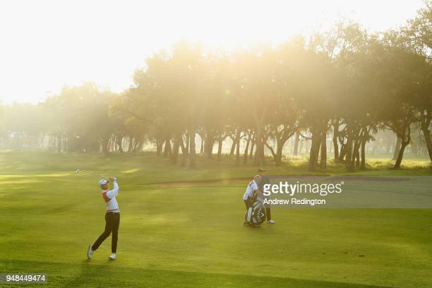 Thomas Detry of Belgium takes his second shot on the 1st hole during Day One of the Trophee Hassan II at Royal Golf Dar Es Salam on April 19 2018 in...