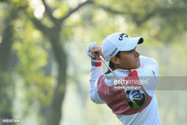 Thomas Detry of Belgium takes his shot during Day One of the Trophee Hassan II at Royal Golf Dar Es Salam on April 19 2018 in Rabat Morocco