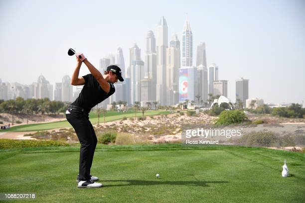 Thomas Detry of Belgium takes his tee shot on hole eight during Day Two of the Omega Dubai Desert Classic at Emirates Golf Club on January 25, 2019...