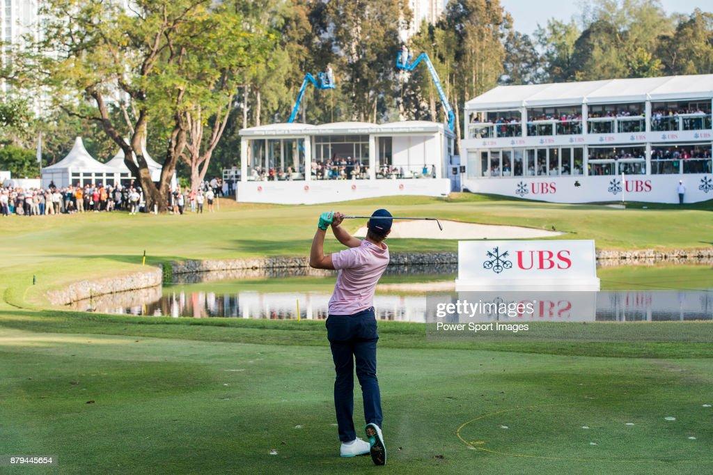 Thomas Detry of Belgium tees off during round four of the UBS Hong Kong Open at The Hong Kong Golf Club on November 26, 2017 in Hong Kong, Hong Kong.