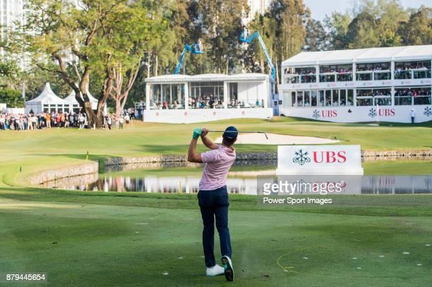 Thomas Detry of Belgium tees off during round four of the UBS Hong Kong Open at The Hong Kong Golf Club on November 26 2017 in Hong Kong Hong Kong