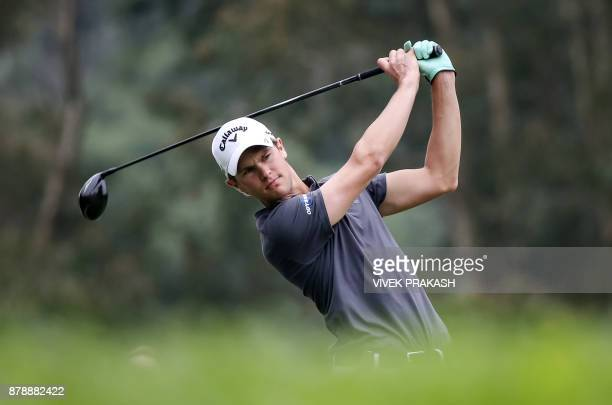 Thomas Detry of Belgium tees off on the 11th hole during round three of the Hong Kong Open tournament at the Hong Kong Golf Club on November 25 2017...