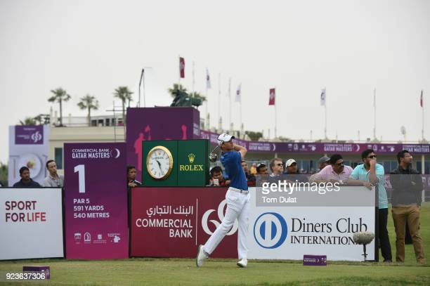Thomas Detry of Belgium tees off on the 1st hole during the third round of the Commercial Bank Qatar Masters at Doha Golf Club on February 24 2018 in...