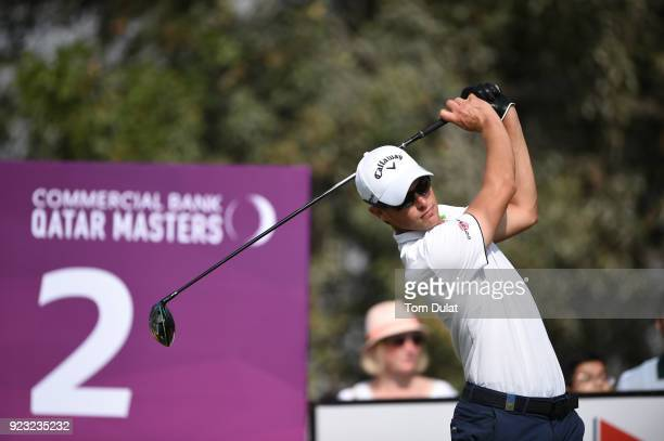 Thomas Detry of Belgium tees off on the 2nd hole during the second round of the Commercial Bank Qatar Masters at Doha Golf Club on February 23 2018...