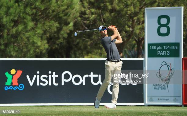 Thomas Detry of Belgium tees off on the 8th hole during day four of the Portugal Masters at Dom Pedro Victoria Golf Club on September 24 2017 in...