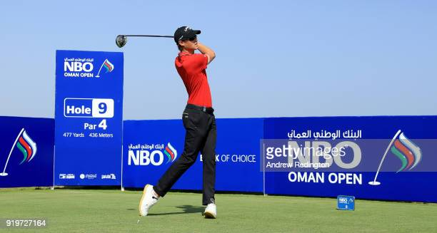 Thomas Detry of Belgium tees off on the par four 9th hole during the final round of the NBO Oman Open at Al Mouj Golf on February 18 2018 in Muscat...