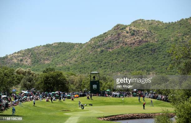 Thomas Detry putts on the 5th green during the fourth round of the Nedbank Golf Challenge hosted by Gary Player at the Gary Player CC on November 17,...