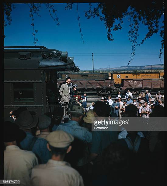 Thomas Dewey speaks from the rear of a train on the campaign trail.