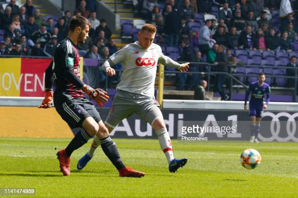 Thomas Didillon goalkeeper of Anderlecht and Renaud Emond forward of Standard Liege pictured during the Jupiler Pro League match between RSC...