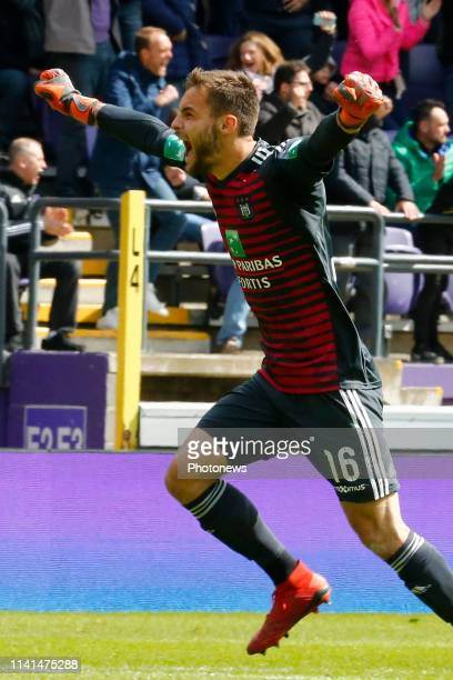 Thomas Didillon goalkeeper of Anderlecht celebrates pictured during the Jupiler Pro League match between RSC Anderlecht and Standard de Liege at the...
