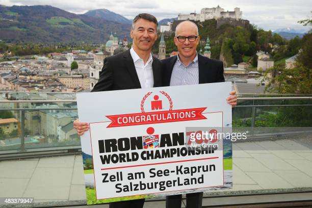 Thomas Dieckhoff Chief Executive Officer IRONMAN Europe and Andrew Messick Chief Executive Officer of IRONMAN pose after the 2015 IRONMAN 703 World...