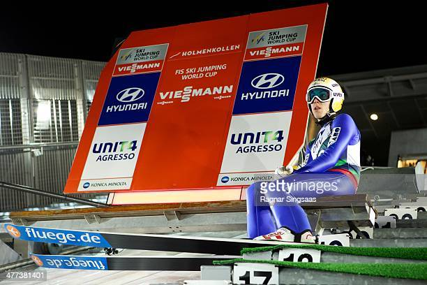 Thomas Diethart of Austria competes during the FIS Ski Jumping World Cup Men's HS134 Qualification on March 8 2014 in Oslo Norway