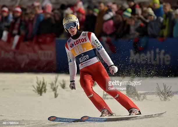 Thomas Diethart of Austria competes in the 2nd round of FIS Ski Jumping World Cup team competition at Wielka Krokiew Jumping Hill on January 17 2015...