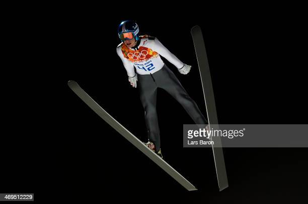 Thomas Diethart of Austria jumps during the Men's Large Hill Individual 1st Round on day 8 of the Sochi 2014 Winter Olympics at the RusSki Gorki Ski...