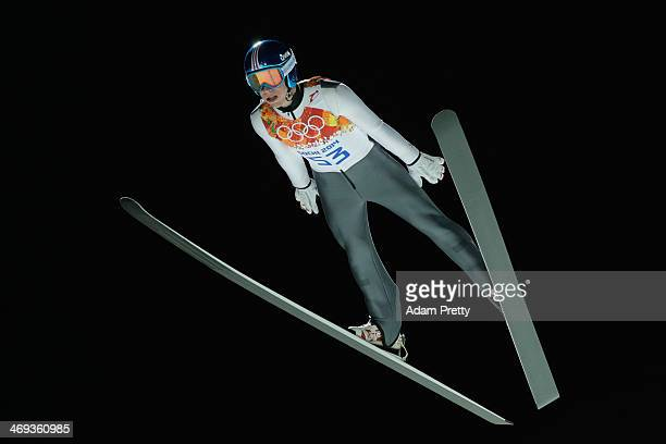 Thomas Diethart of Austria jumps during the Men's Large Hill Individual Qualification on day 7 of the Sochi 2014 Winter Olympics at the RusSki Gorki...