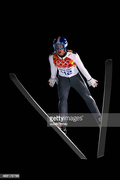 Thomas Diethart of Austria jumps during the Men's Normal Hill Individual first round on day 2 of the Sochi 2014 Winter Olympics at the RusSki Gorki...
