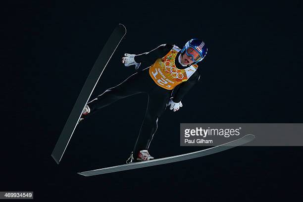 Thomas Diethart of Austria jumps during the Men's Team Ski Jumping trial on day 10 of the Sochi 2014 Winter Olympics at the RusSki Gorki Ski Jumping...