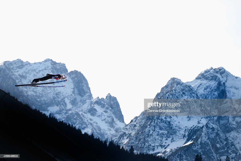 Thomas Diethart of Austria soars through the air during his training jump at Olympia Skistadion on day 2 of the Four Hills Tournament event on January 1, 2014 in Garmisch-Partenkirchen, Germany.