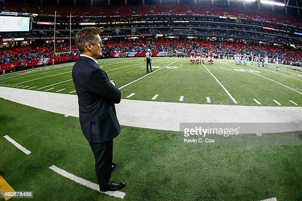Thomas Dimitroff general manager of the Atlanta Falcons looks on in the second half against the Carolina Panthers at the Georgia Dome on December 28...