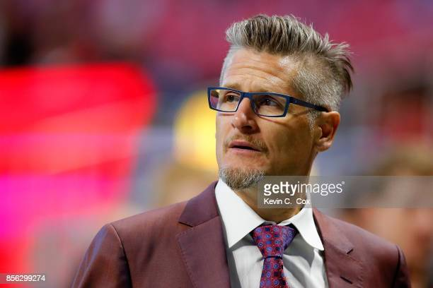 Thomas Dimitroff general manager of the Atlanta Falcons prior to the game against the Buffalo Bills at MercedesBenz Stadium on October 1 2017 in...