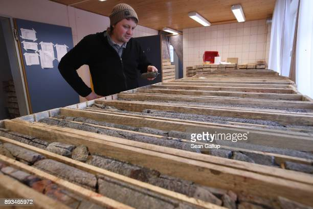 Thomas Dittrich a geologist working for Deutsche Lithium GmbH looks at bore samples many of which contain Zinnwaldite a silicate mineral that...