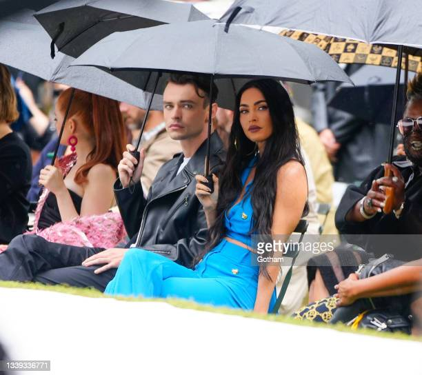 Thomas Doherty and Megan Fox is seen at the Moschino show on September 09, 2021 in New York City.