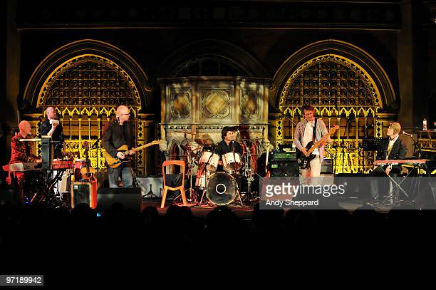 Thomas Dolby performs on stage with his band Lyndon Connah Kevin Armstrong Justin Hildreth and Matthew Seligman at Union Chapel on February 28 2010...
