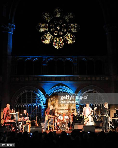 Thomas Dolby performs on stage with his band Lyndon Connah Kevin Armstrong Matthew Seligman and special guests at Union Chapel on February 28 2010 in...