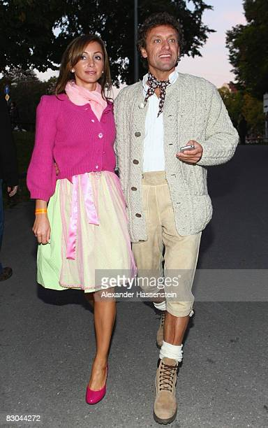 Thomas Doll arrives with Biljana for the Boris Becker Oktoberfest Golf trophy party at the Hippodrom tent on September 28 2008 in Munich Germany