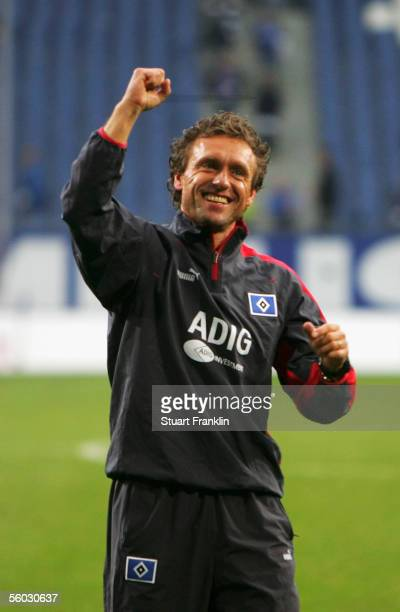 Thomas Doll, coach of Hamburger SV cleberates after the Bundesliga match between Hamburger SV and Schalke 04 at the AOL Arena on October 29, 2005 in...