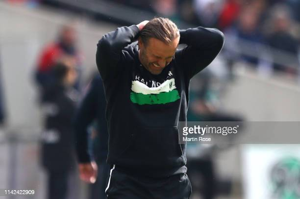 Thomas Doll Manager of Hannover 96 reacts during the Bundesliga match between Hannover 96 and Borussia Moenchengladbach at HDIArena on April 13 2019...