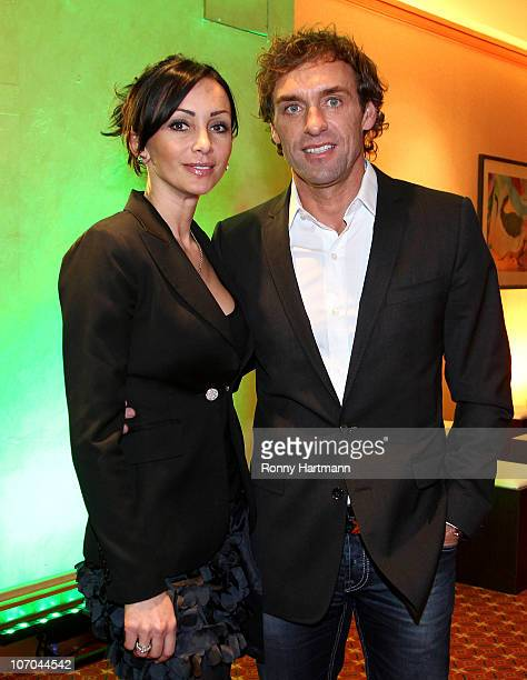 Thomas Doll of the DFV Legend and his wife Biljana during the Players Night at the Westin Hotel on November 20 2010 in Leipzig Germany