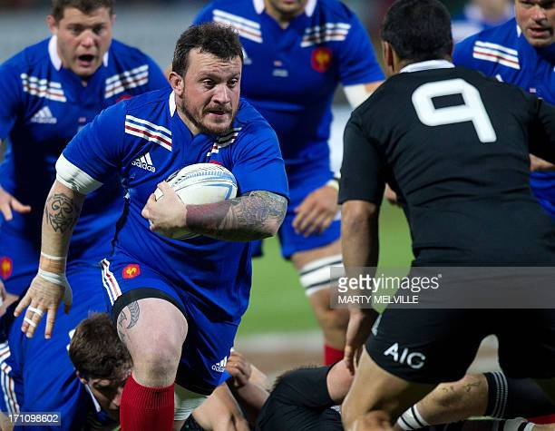 Thomas Domingo of France faces Piri Weepu of New Zealand during the third rugby union match between the New Zealand All Blacks and France at Yarrow...