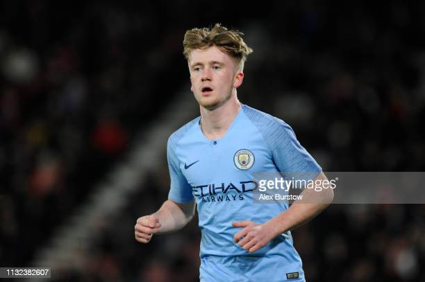 Thomas Doyle of Manchester City runs off the ball during the FA Youth Cup Sixth Round Match between AFC Bournemouth U18 and Manchester City U18 at...