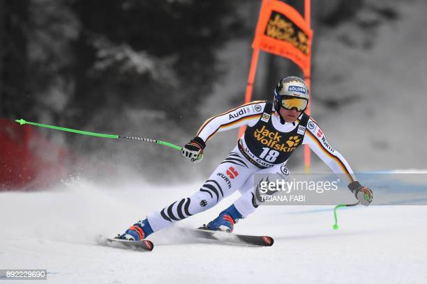 Thomas Dressen from Germany competes during a training for the FIS Alpine World Cup Men Downhill on December 14 2017 in Val Gardena Italian Alps /...
