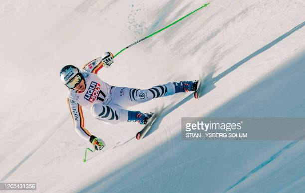 Thomas Dressen from Germany competes during a training session of the FIS Alpine Skiing World Cup Men´s Downhill in Kvitfjell Norway on March 6 2020...