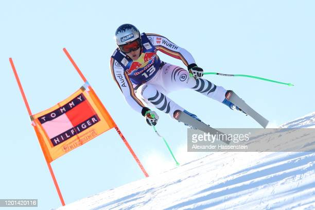Thomas Dressen of Germany competes during a training session for the Audi FIS alpine ski world cup men's downhill on January 23, 2020 in Kitzbuehel,...
