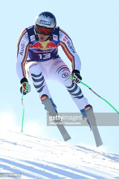 Thomas Dressen of Germany competes during a training session for the Hahnenkamm Rennen Audi FIS alpine ski world cup men's downhill at Streif on...