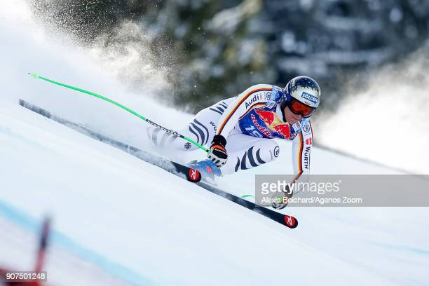 Thomas Dressen of Germany competes during the Audi FIS Alpine Ski World Cup Men's Downhill on January 20 2018 in Kitzbuehel Austria