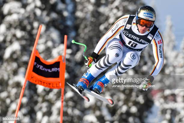 Thomas Dressen of Germany competes during the Audi FIS Alpine Ski World Cup Men's Downhill on March 10 2018 in Kvitfjell Norway