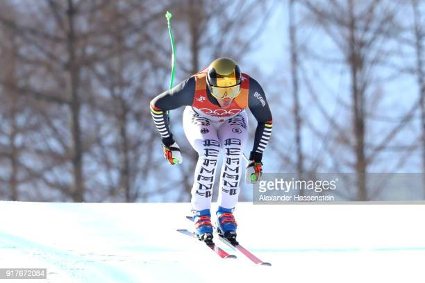 Thomas Dressen of Germany competes during the Men's Alpine Combined Downhill on day four of the PyeongChang 2018 Winter Olympic Games at Jeongseon...