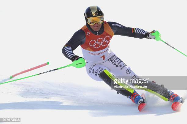 Thomas Dressen of Germany competes during the Men's Alpine Combined Slalom on day four of the PyeongChang 2018 Winter Olympic Games at Jeongseon...