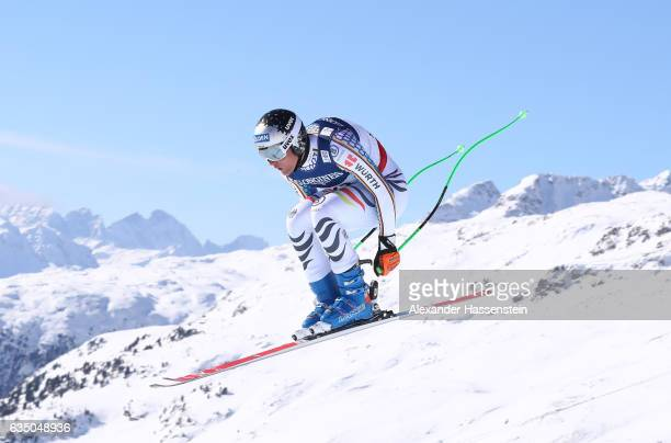 Thomas Dressen of Germany competes in the Men's Combined Downhill during the FIS Alpine World Ski Championships on February 13 2017 in St Moritz...