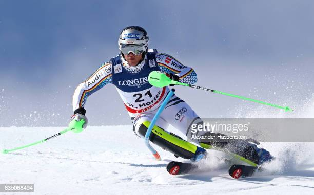 Thomas Dressen of Germany competes in the Men's Combined Slalom during the FIS Alpine World Ski Championships on February 13 2017 in St Moritz...