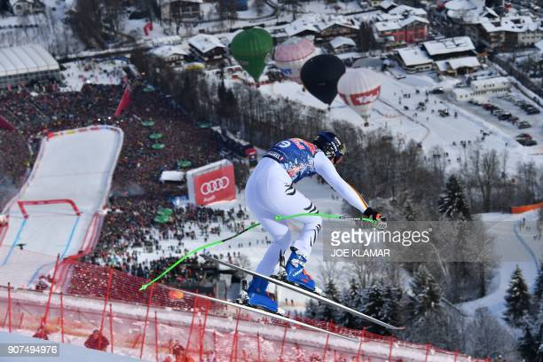 Thomas Dressen of Germany competes in the men's downhill event at the FIS Alpine World Cup in Kitzbuehel Austria on January 20 2018 / AFP PHOTO / JOE...